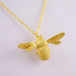 Wholesale A NEW Pendant Necklaces Sterling Silver Golden Bee Pendant Necklace Chain A2231