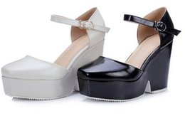 korean style~ b094 34 genuine leather platform wedge heels sandals black white thick heel luxury designer runway casual sexy