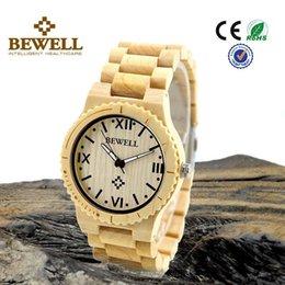 Wholesale Hot Sale Fashion Bewell ZS W065A Men Quartz Watch Round Quartz Wooden Watch Band Men Relogio Masculino Watches