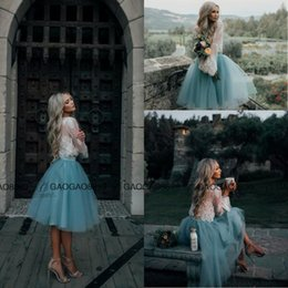 Wholesale 2017 White and Mint Lace Two Pieces Long Sleeve Short Prom Homecoming Dresses Crew Illusion Boho Party Graduation Evening Gowns Cheap