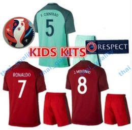 Wholesale New Product Uniforms Kit Youth Kids Soccer Jersey European Cup Portugal Flgo Ronaldo Nanl Red Light Green Away Home Jerseys