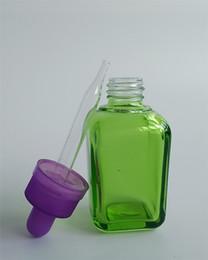 Factory wholesale,30ml glass dropper bottles,E juice green glass flat square bottle Eciggarette,E liquid empty bottle,Childproof caps
