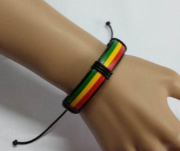 Wholesale Reggae rasta reggae hand rope leather doodle bracelet Fashion colour PU hand woven thick leather bracelet The national flag color bracelet