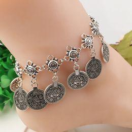 Antique Silver Bohemian Boho Coin Anklet Ankle Bracelet Barefoot Sandal Beach