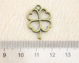 40Pcs 24*17mm Antique Bronze Color clover Charms Zinc Alloy DIY Handmade Jewelry Pendants Wholesale