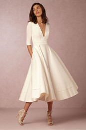 Charming Half Long Sleeve Ivory Prom Dress Short Office Lady Dresses Evening Dress Elegant Tea Length Occasiong Party Gowns Deep V Neck