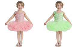 Sweet Toddler Pink Green Purple Mini Pageant Dresses With Beads Collar Pattern Short Dress Folds Cute Infant Cupcake Skirt