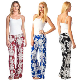 Casual wide leg floral print long palazzo pants trousers for women 7 colors available free shipping