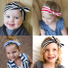wholesale 10pcs lot bowknot stripe hairbands girls knot hair band kid headband hair accessories Free Shippng