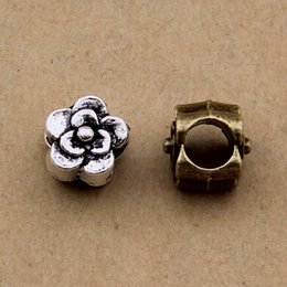 200 pcs flower Beads Antique Silver & antique bronze color for option approx 8x6 mm free shipping