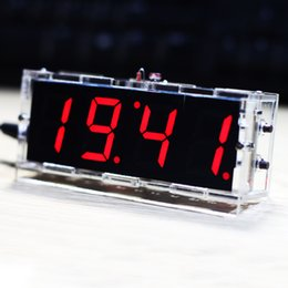 Wholesale Compact digit DIY Digital LED Clock Kit Light Control Temperature Date Time Display with Transparent Case E1286