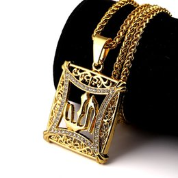 Wholesale Sale Necklaces Mens Hip Hop Jewelry Allah TDP Pendant Design Punk Rock Fashion Studded Crystal k Gold Plated Long Chain CM
