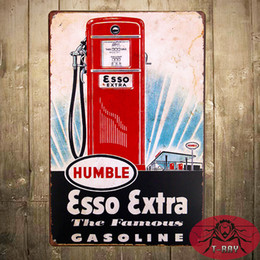 Wholesale quot ESSO Extra quot Metal Poster Tin signs Garage Oil Gas Pub Decor Craft Wall Painting