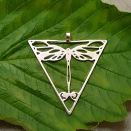 Dragonfly in triangle pendant Silver Gold plated necklaces & pendants for women pendant lot Free Shipping