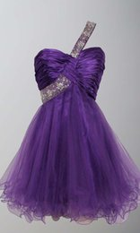 Wholesale 2016 On Sale One Shoulder Beads A Line Mini Purple Homecoming Gowns Fitted At Affordable Prices