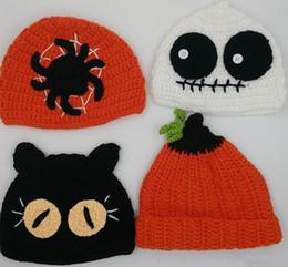 Children Halloween Caps Winter Kids Pumpkin Ghost Cat Crochet Hats Boy Girl Handmade autumn winter Knitted Hats