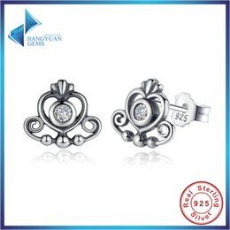 Boucles d'oreille femme 925 en argent sterling Couronne impériale avec AAA Cubic Zirconia Round Romantic Gift Livraison gratuite à partir de stud impériale fabricateur