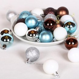 Wholesale Solid Acrylic Ornaments - New Year Christmas Tree Ornament 24pcs Lot Diameter 4cm Light Christmas Balls Decorations Supplies natal christmas navidad