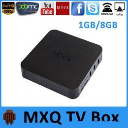Acheter en ligne Amlogic android-2016 MXQ Android TV Boîte Quad Core Amlogic S805 KODI entièrement chargé Smart TV Box Android 4.4 MXQ OTT TV BOX Set