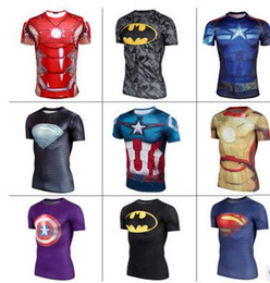 Wholesale United States Captain T Shirt Gym Clothing Breathable The Avengers Alliance Superman Men Tights D Funny T Shirts Compression Shirt
