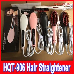 Wholesale Fast Hair Straightening Irons Comb LCD Display Electric Straight NASV Beautiful star Straightener flat Iron Brush HQT US AU EU UK Plug