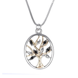 Wholesale Diamond Inlay Life of Tree Charm Pendant Necklace Featuring polished Pendant with Gold plated Tree at Center and Diamond studded Leaves
