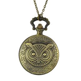 Wholesale Fashion Vine Style Owl Printed Quartz Pocket Watch Necklaces