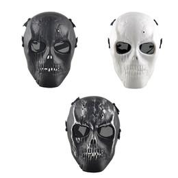 2017 proteger a paintball Al aire libre del cráneo esquelético Paintball BB Full CS cara proteger la máscara de cascos de disparo de espuma acolchada dentro del protector del ojo completo de la cubierta al por mayor 2503054 proteger a paintball en venta