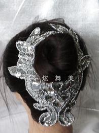 Descuento cosiendo flores 3d Los accesorios del pelo de la muchacha de flor 3D Sequined el oro de Headwear que rebordea el accesorio del pelo de los cequis del metal del collar que cose la flor 24.5 * 9.5cm de Paillette
