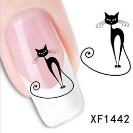 Wholesale XF XF1442 XF Hot Cute Black Cat Nail Sticker Art Water Transfer Slide Decals Sticker Tips DIY Sexy Rhinestone Decoration