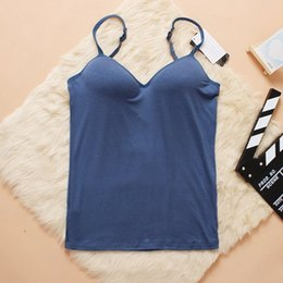 Wholesale Modal Halter Top Spaghetti Strap Vest bra Basic Shirt Vest Female Thin Wireless Bra Shirt for women WA0168
