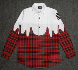 Side Gold Zipper Red Plaid Shirt Mens Fashion Streetwear Clothes Hip Hop Men Long sleeve Shirts Tartan Casual Men Clothes