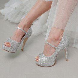 Bling Bling Peep Toe 10cm Heels Silver Wedding Shoes Glitter Bride Dress Shoes Prom Party High Heel Sandals Chaussure Femme