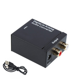 Wholesale NEW Digital Adaptador Optic Coaxial RCA Toslink Signal to Analog Audio Converter Adapter With power cord