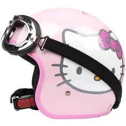 Wholesale TT Taiwan S Y C Fashion Racing Casque Bicycle Open Face Scooter Casco Motorcycle Gloss Pink Star Lovely Cartoon Helmet UV Goggles Adult
