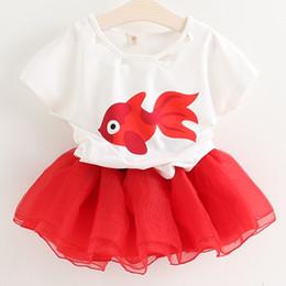 Wholesale 2 Set Bala_bala Children Short Sleeve T shirt Skirt Child Girl Gazue Outfits Fashion Kids Girl s Suit Sets B