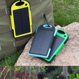 Wholesale Solar Panel Batteries Wholesale - Universal 5000mAh Solar Charger Waterproof Solar Panel Battery Chargers for Smart Phone iphone7 Tablets Camera Mobile Power Bank Dual USB