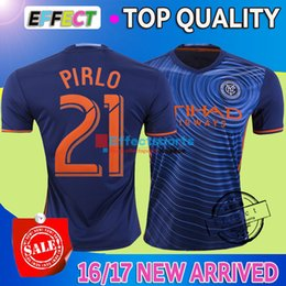 Wholesale 2016 NYCFC New York City FC Soccer Jerseys PIRLO MIX DAVID VILLA LAMPARD Away Blue Maillot De Foot football shirts