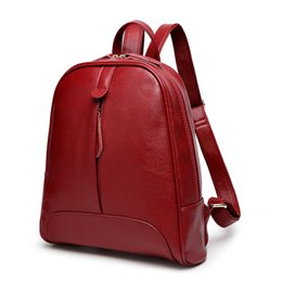 New 2016 Women Fashion Backpack Casual Genuine Leather Backpack 5 Colors School Bags For Teenagers Girls College Rucksacks