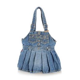 Wholesale Cute Jean Dresses - HOT cute New Vintage Fashion bolsa feminina girl Dress Denim Jean Women HandBags Evening Bags Tote For Female Free Shipping
