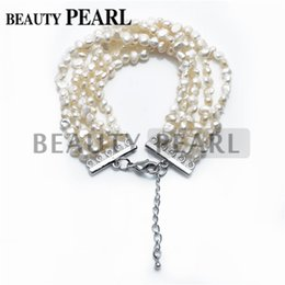 Wholesale Five Rows Nugget Freshwater Cultured White Pearls Beaded Bracelet Bridal Statement Bracelet Wedding Jewelry Perfect Gift