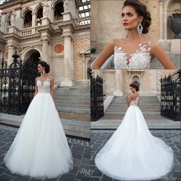 2019 New Elegant A Line Wedding Dresses Vintage Illusion Lace Appliques Tulle Floor Length Wedding Bridal Gowns With Button