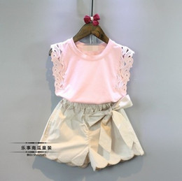 Wholesale 2016 Baby girl kids Summer Clothes piece set outfits Lace hollow crochet tops shirt vest blouse Beige shorts pants Bowknot Beautiful