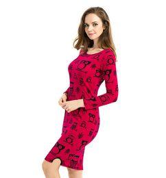 New arrivals Euro style bodycon pencil dress elastic long sleeved owl mosaic plus size skirt fashion women dress