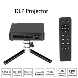 Wholesale HDP200 DLP LED Projector HD Contrast Ratio WiFi Miracast Airplay HDMI With Tripod for Home Theater Phones PC Game Camera