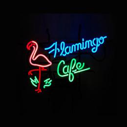 FLAMINGO CAFE Real Glass Neon Light Sign Home Beer Bar Pub Recreation Room Game Room Windows Garage Wall Sign