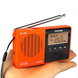 Wholesale TECSUN PL Mini DSP FM Stereo Radio ETM Alarm Clock Sleep Timer Receiver Orange Y4142O