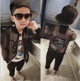 Wholesale Trendy korean children jacket boys black hollow Baseball uniform Fashion jacket kids round collar outwear children jeacket A8564