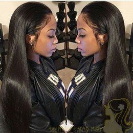 For Black Women Brazilian Hair Lace Front Wig Natural Color Silk Straight Human Hair Wigs Glueless Full Lace Wig With Baby Hair