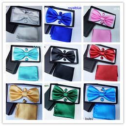 Wholesale Men s bow tie solid variety of colors Suite Bow Tie Hanky with Cufflink Set silk